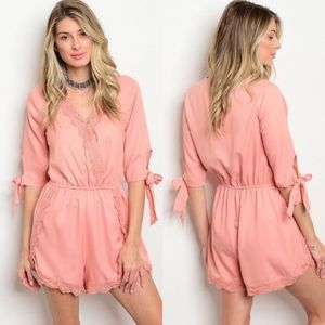 Rose Pink Romper with ties on sleeves